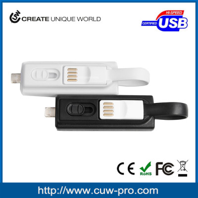 Ultra Mini Power Bank with intergrated 2 in 1 charging cable Lightning and Micro USB connector for Emergency Use