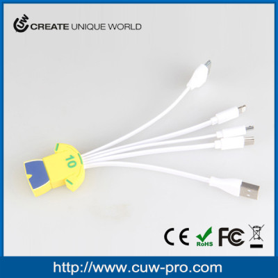 factory price portable 5 in 1 pvc usb charging cable for iphone with free sample as promo gadgets