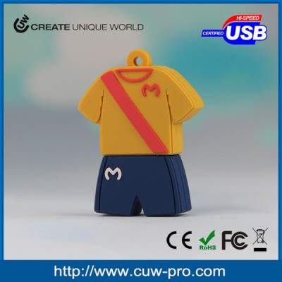 customized sportswear shaped pvc usb memory stick