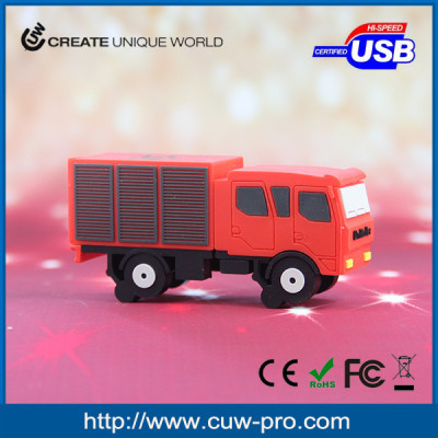 Factory direct creative 3D truck shape usb key in pvc material for logistics