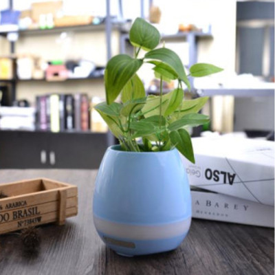Factory Direct Hot Sale OEM Smart Touch Music Flowerpot Bluetooth Speaker with LED light