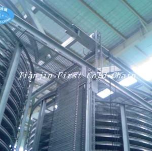 Double spirale de la Chine 3000kg / h de congélation rapide avec la ceinture en matière plastique pour pâtissier