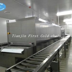 China Primera compañía de cadena de frío Atuomación completa 100 kg / h Túnel Congelador Tarta de huevo congelado