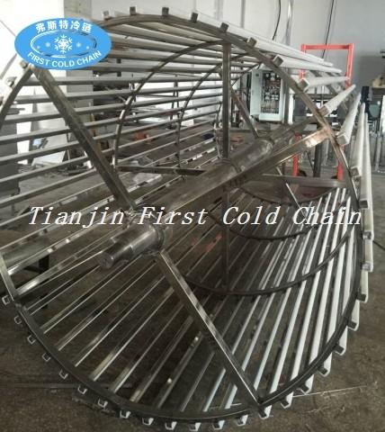 China congelador en espiral de alta calidad 1500kg / h para albóndigas