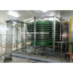 China Double Spiral  Freezer 2000kg/h  for Frozen Meat with stainless steel belt