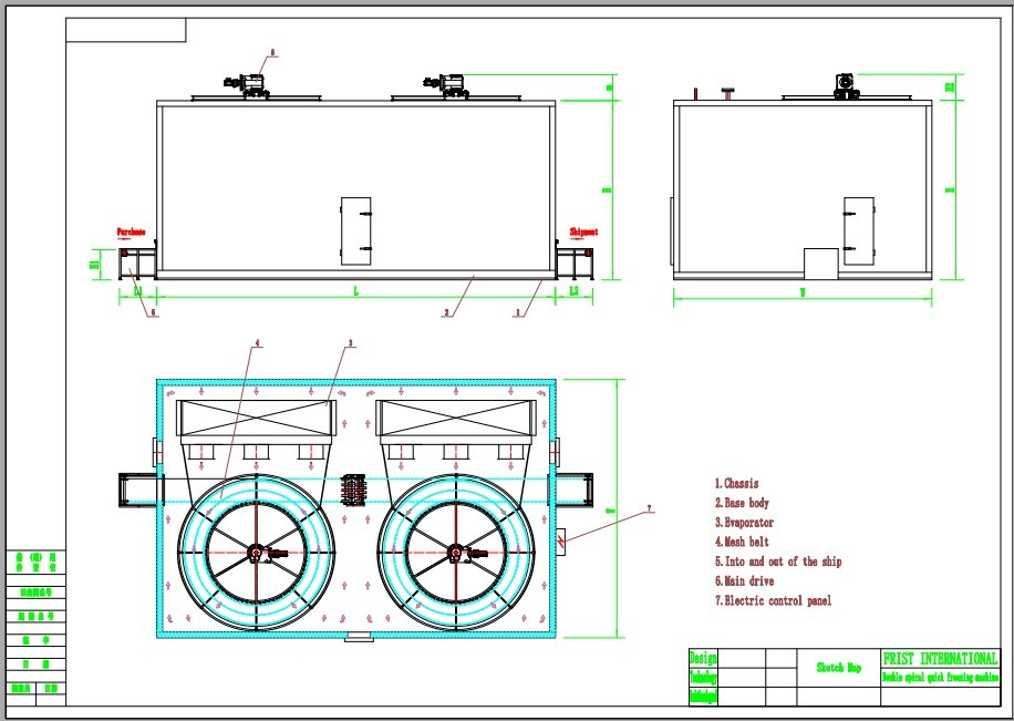 FDSL spiral freezer drawing