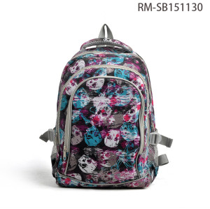 Skull Design Girls School Bag Backpack, Backpack For School