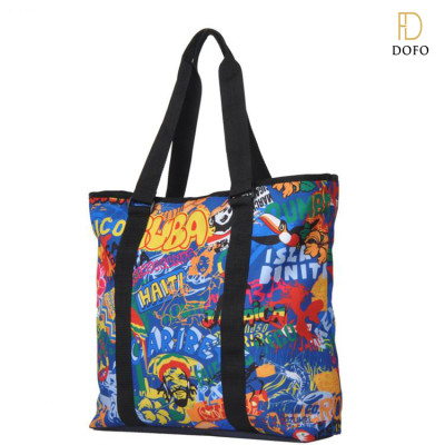 Fashion canvas tote bag leather handle cotton tote bag