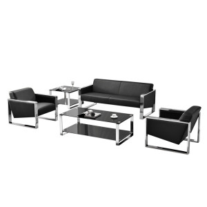 Leather Sectional Sofa - Small Space Configurable Couch - Black