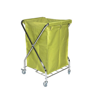 Laundry Cart With Steel Frame and Canvas, chrome