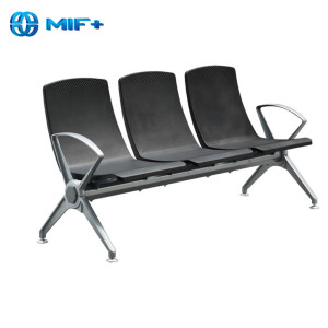 firm 3 seaters aluminium alloy black waiting chair