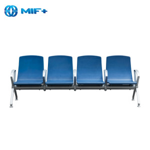 Modern 4 seaters blue pu seat back steel waiting chair