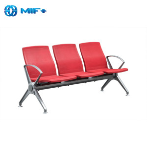 cheap 3 seaters red steel and pu seat back waiting chair