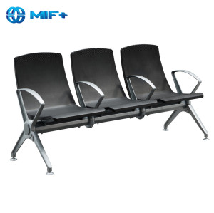 3-seater 1.8mm painted steel balck steel chair for public area