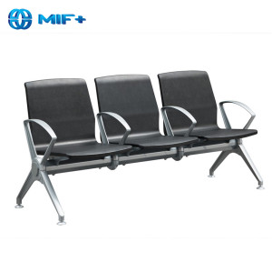 Hot sale 3-seater black steel chair for public area