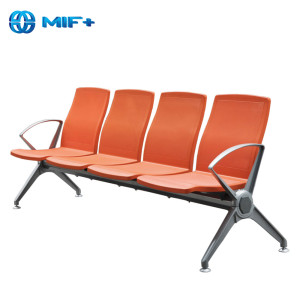 contemporary 4-seater orange steel chair for public area