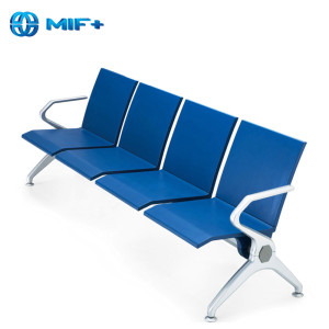 best sale 4-seater blue steel public seating chair