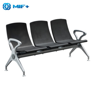 3 seaters Iron and pu seat back airport waiting chair