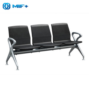 3 seaters black Iron and pu seat back waiting chair