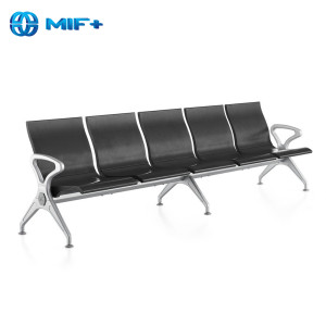 lowest price 5-seater black steel waiting chair on sale