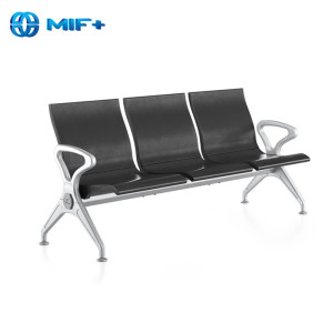 wholesale modern 3-seater black waiting chairs