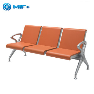 Strong 3 Steaters Orange Steel And PU Waiting Chair