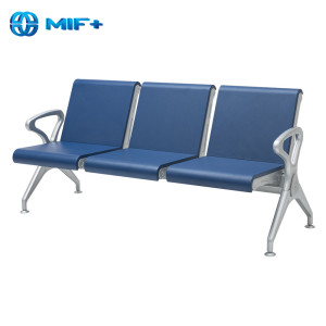 Top Quality 3 Seaters PU Seat Back Blue Waiting Chair
