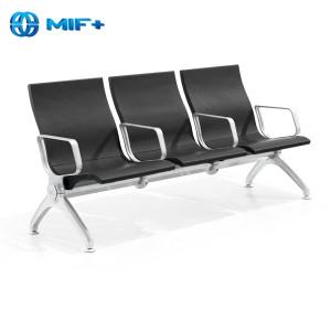 1.8mm Painted Steel Sheet Of Cross Beam Black Airport Waiting Chair