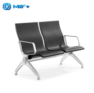 best comfortable 2-seater black public waiting chair