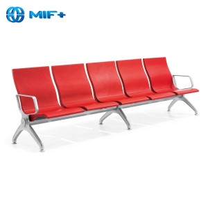 High-Grade 4 Seaters Red PU Waiting Chair