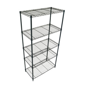 Classics 5-Tier Black Epoxy Steel Wire Shelving with industrial-strength steel and features black epoxy coating.