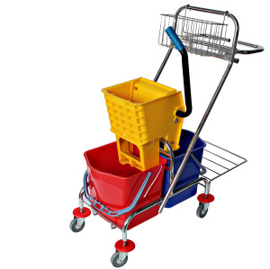 34L Side Press Double  Commercial Mop Buckets With Wringer
