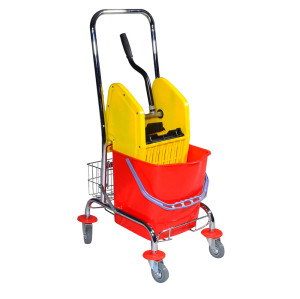 Commercial Wavebrake Mopping System Bucket and Side-Press Wringer Combo