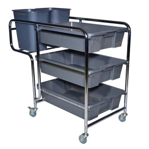 Stainless Steel Dish Collecting Cart with Brake on the Wheel