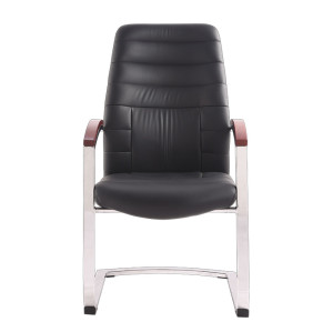 Leather Office Guest Chair Set Reception / Waiting Room Chair Heavy Duty(Black)