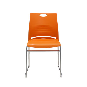 880 lb. Capacity Orange Full Back Contoured Stack Chair with Sled Base