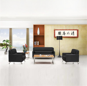 Black  PU Leather Office Sectional Sofa with Silver Tone Metal Legs