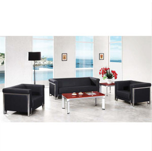 MIF+ Furniture Black Leather Sofa & Chair Set