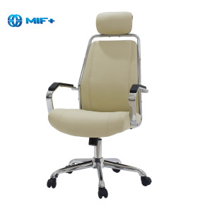 New Style White Leather Office Chair, Ergonomic Swivel Mid-Back Office Chair