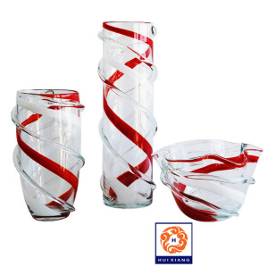 Hand Blown Glass Candy Cane Stripe Vases