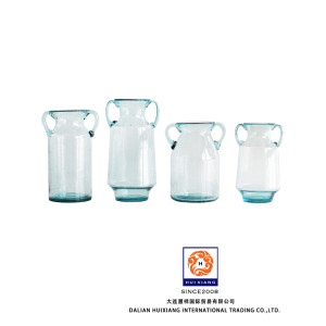 Handblown Ice Blue Glass Jarra de burbujas para flor de tallo largo