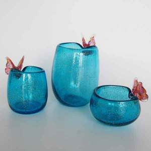 Handblown Butterfly Design Glass Tealight Holder
