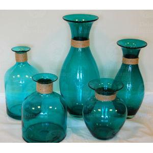 Jarrón de vidrio transparente Aqua turquosie