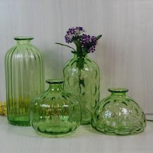 Ручное выкрашенное зеленое искусство и ремесло Стеклянные вазы