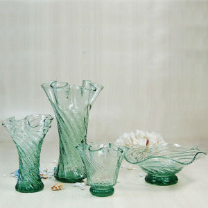 Florero de vidrio con forma de flor decorativa Handcraft azul marino