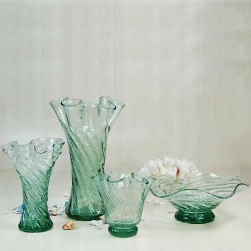 Navy Blue Handcraft Decorative Flower Shaped Glass Vase China