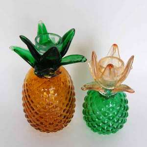 pineapple shaped vivid glass candle holder candlesticks