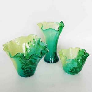 Green Dot Pattern Mouth Blown Glass Candle Holder