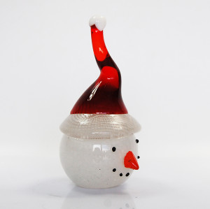 cute glass snow man  ornament with christmas hat