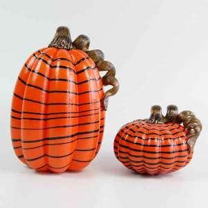Wholesale Hand Blown Orange with Black Stripe Artificial Glass Pumpkin